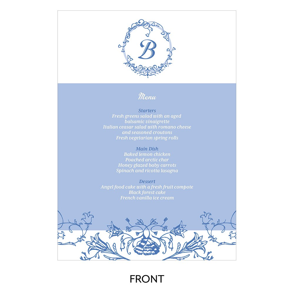 Vintage Romance Large Menu Card