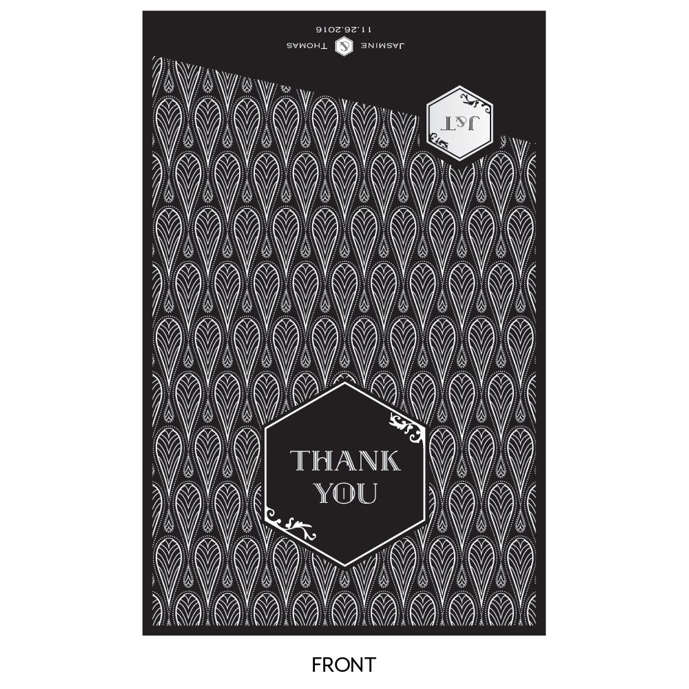 Black and Gold Thank You Card