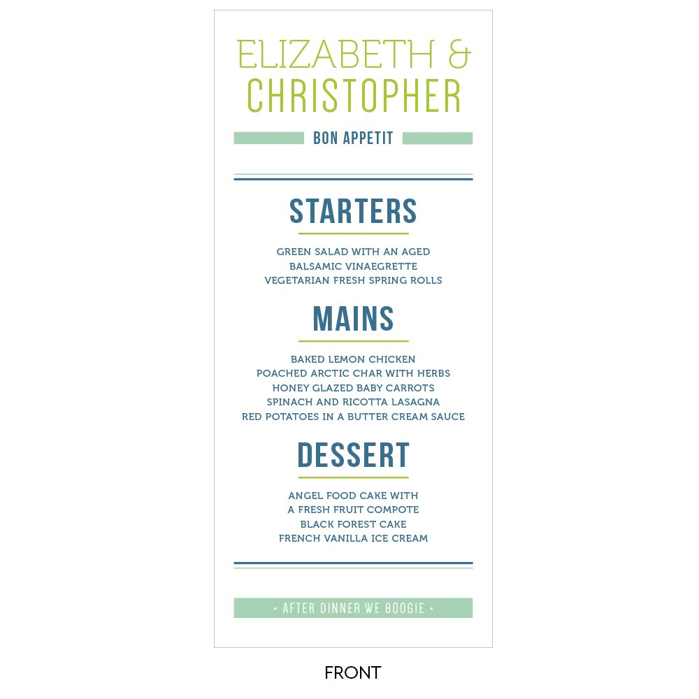Smart Type Menu Card