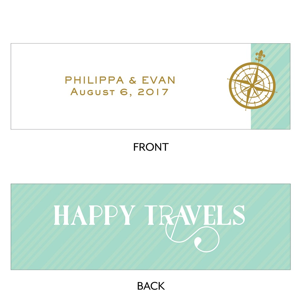 Vintage Travel Small Rectangular Favor Tag   Happy Travels