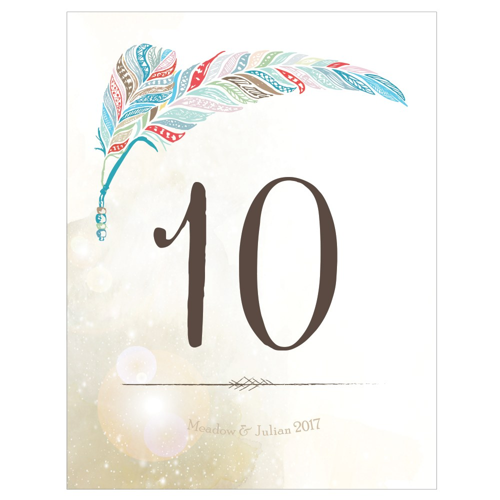 Feather Whismy Table Numbers