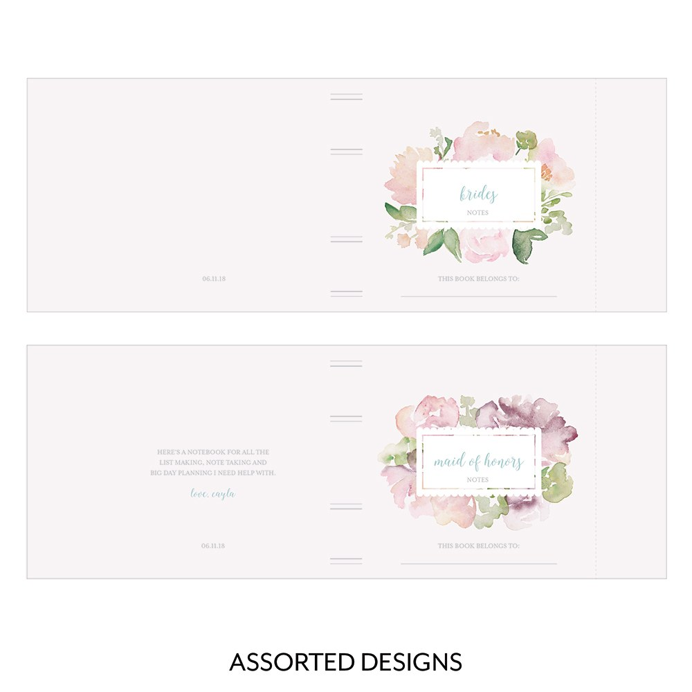 Notepad Favor with Personalized Garden Party Cover   Bridal Party Assortment