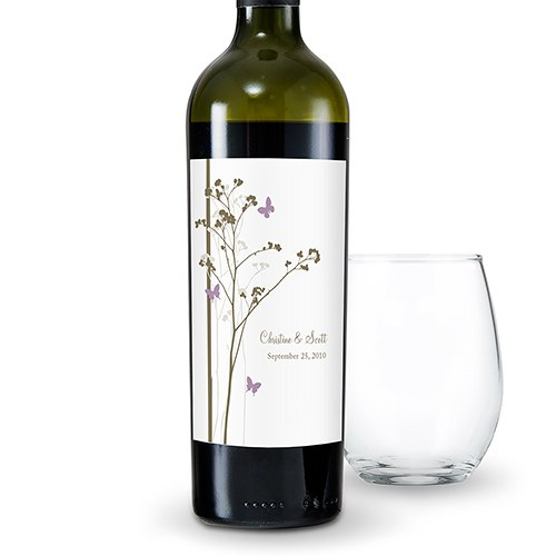 Romantic Butterfly Wedding Wine Bottle Label