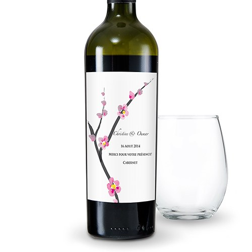 Cherry Blossom Wedding Wine Bottle Label