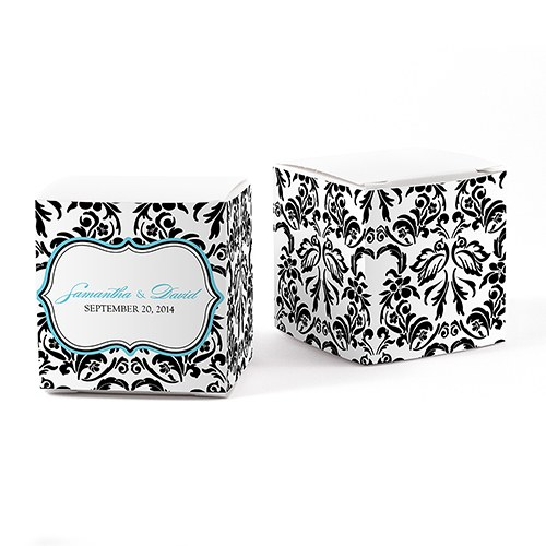 Love Bird Damask Wedding Favor Box Wrap