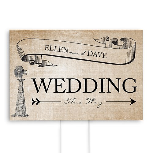 Rustic Country Wedding Reception and Ceremony Directional Road Signs