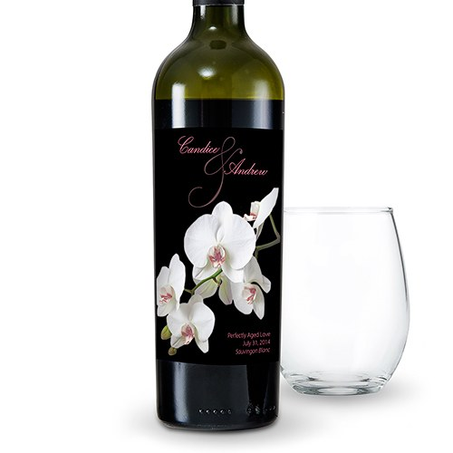 Classic Orchid Wine Label  The Knot Shop