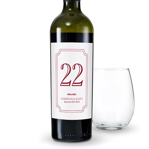 Classic Personalized Wine Label Table Number Labels - The Knot Shop