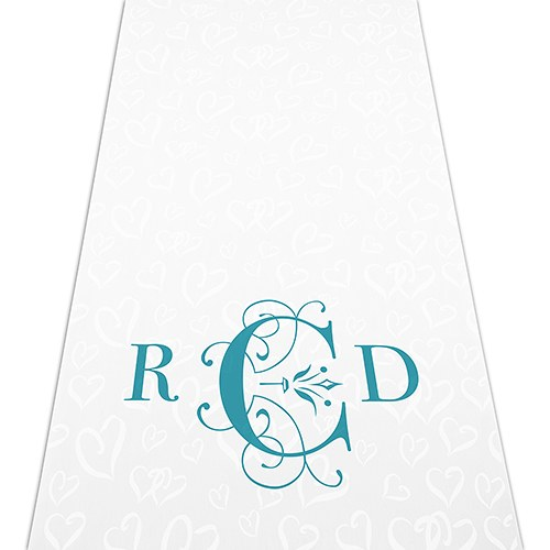 Classic Deco Monogram Personalized Wedding Aisle Runner