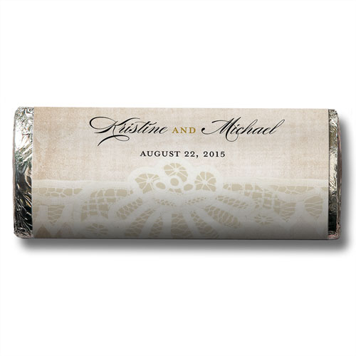 Vintage Lace Chocolate Bar Wedding Favor
