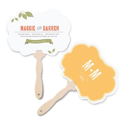 Vineyard Wedding Hand Fan with Decorative Shape