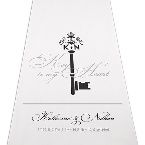 Antique Key Wedding Signature Personalized Wedding Aisle Runner