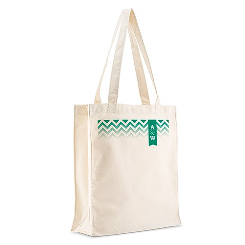 Chevron with Monogram Wedding Signature Personalized 100 per cent Cotton Twill Tote Bag