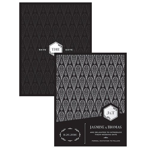 Black and Gold Opulence Save The Date Card