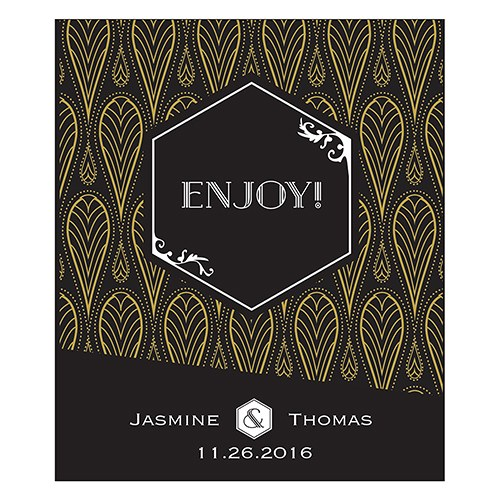 Black & Gold Opulence Small Rectangular Label