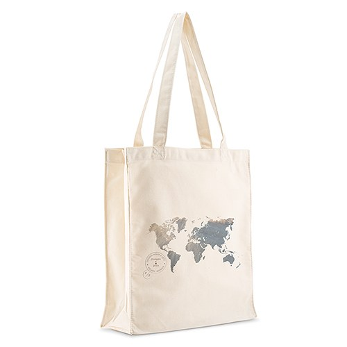 Wanderlust World Map Personalized Tote Bag
