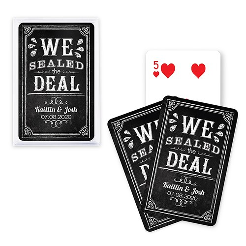 Unique Custom Playing Card Favors - We Sealed The Deal Chalkboard