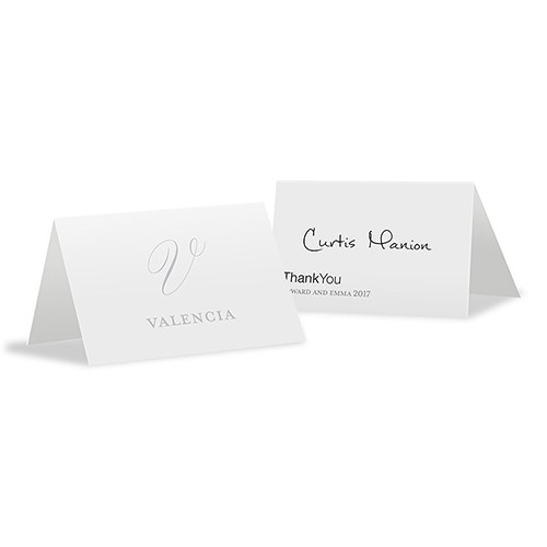 Monogram Simplicity Place Card With Fold   Elegant