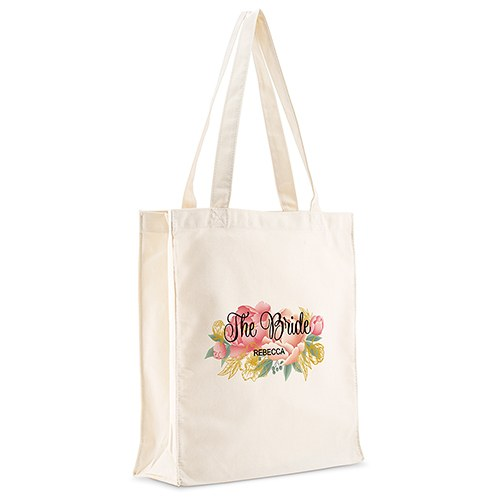 Personalized White Canvas Tote Bag - Modern Floral