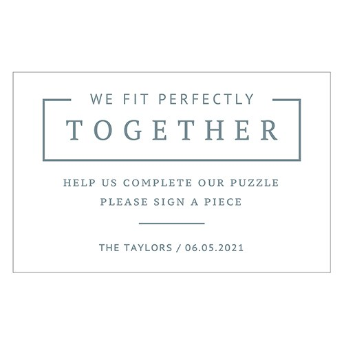 Personalized Sticker Sign for Puzzle Piece Wedding Guest Book - Rustic Love