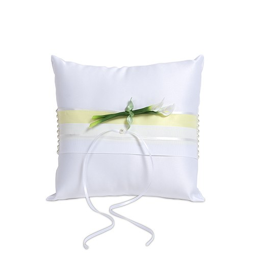 Bridal Beauty Calla Lily Square Wedding Ceremony Ring Pillow