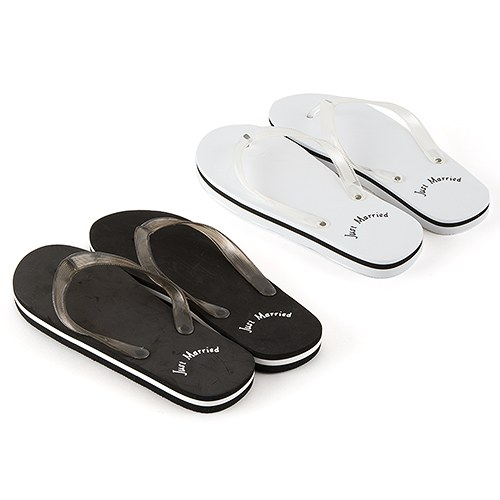 6767293b07ae8 Bride & Groom 'Just Married' Flip-Flops - The Knot Shop