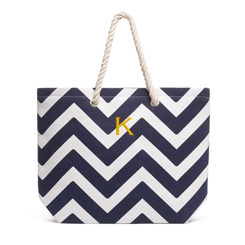 Monogrammed Extra-Large Navy Chevron Cabana Tote - The Knot Shop 02468c06ffef8