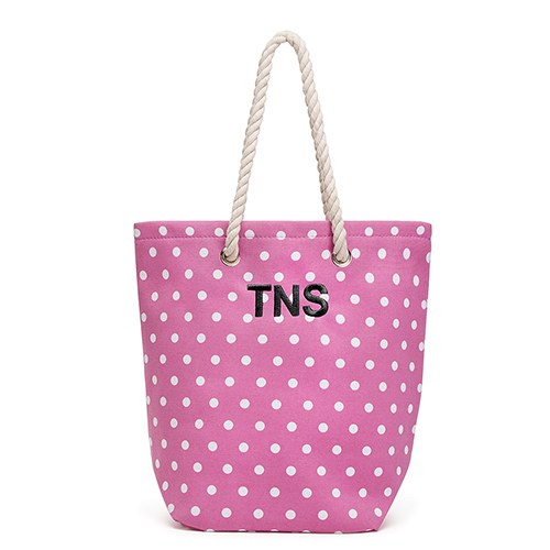 409b9f85aed03 Large Personalized Polka Dot Cabana Nylon/Cotton Blend Beach Tote Bag- Pink