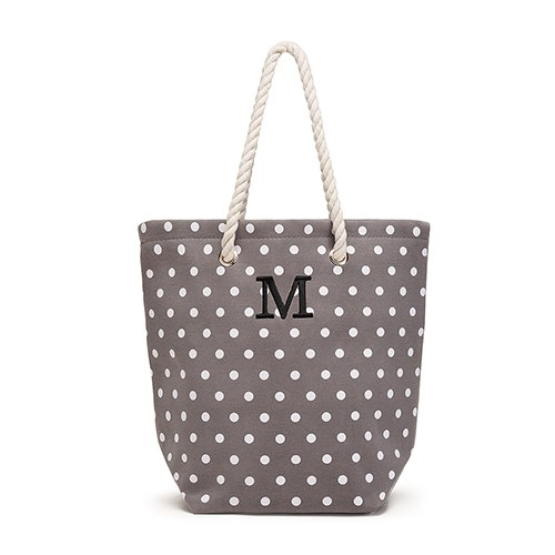 3a4afbcc20da Large Personalized Polka Dot Cabana Nylon Cotton Blend Beach Tote Bag- Grey