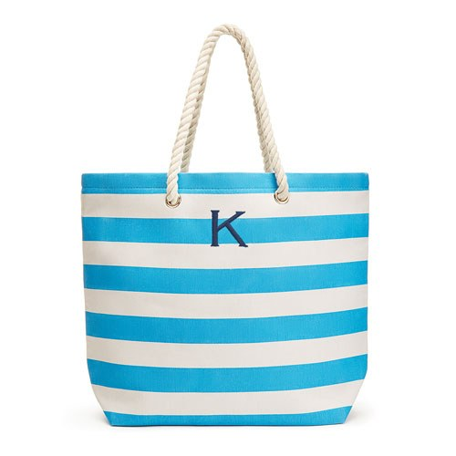 42819fe31a4b Personalized Extra-Large Cabana Stripe Canvas Fabric Tote Bag - Sky Blue