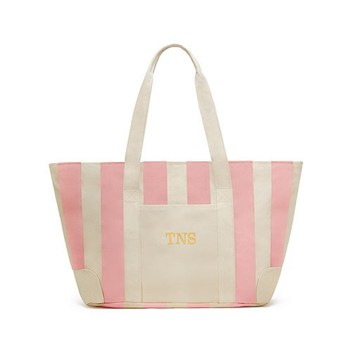 Large Striped Canvas Tote Bag Pink
