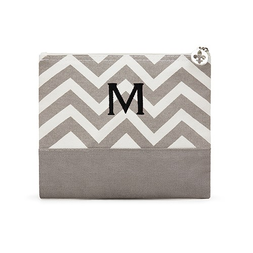 Chevron Cosmetic Bag Gray