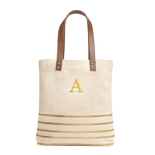Annie Stripe Tote Metallic Gold