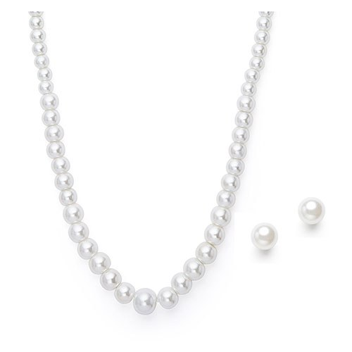 Classic Pearl String Necklace and Earring Set