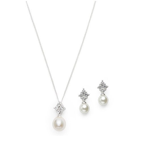 Silver Necklace and Earring Set – Pearl and Crystal Drop Pendant