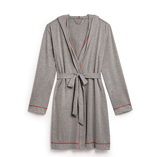 Robe Women's Grey Stitching Hooded Red Bath Spaamp; mN8w0n