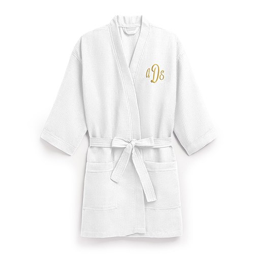 Women S Personalized Embroidered Waffle Spa Robe White