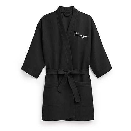 3845d45134 Personalized Black Women s Bathrobe Waffle Fabric - The Knot Shop