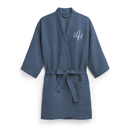 Personalized Navy Blue Waffle Kimono Robe - The Knot Shop 4852415c2