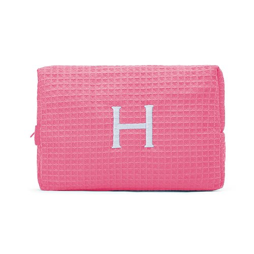 Large Cotton Waffle Cosmetic Bag Hot Pink