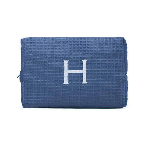 Large Cotton Waffle Cosmetic Bag Navy