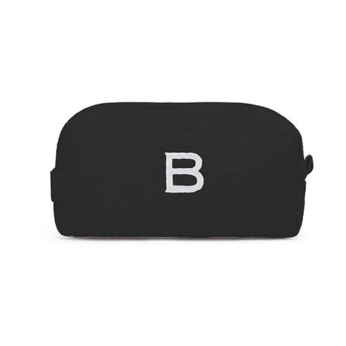 Small Cotton Waffle Cosmetic Bag Black
