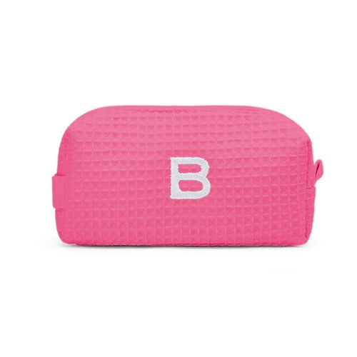 Small Cotton Waffle Cosmetic Bag Hot Pink
