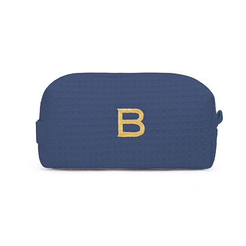 Small Cotton Waffle Cosmetic Bag Navy