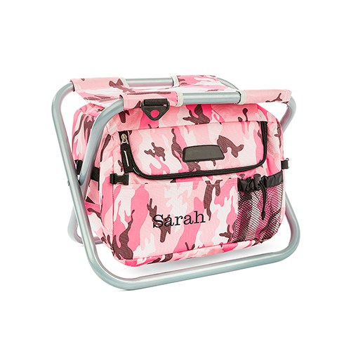 Personalized Pink Camouflage Folding Cooler Chair
