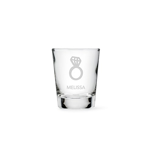 Personalized Shot Glass - Diamond Ring Etching