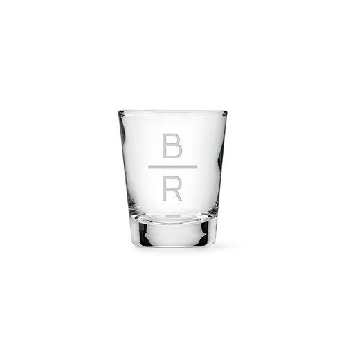 Personalized Clear 1 oz. Shot Glass - Stacked Monogram