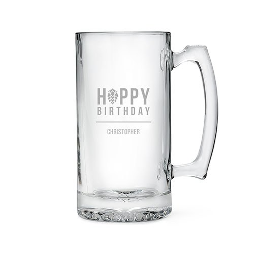 Personalized Large Glass Beer Mug – Hoppy Birthday Engraving