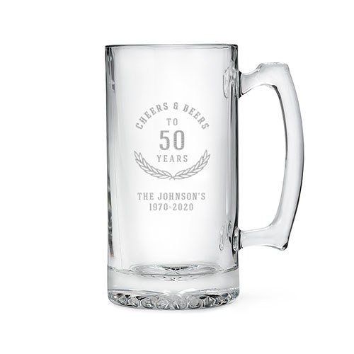 Personalized Large Glass Beer Mug – Cheers and Beers Engraving