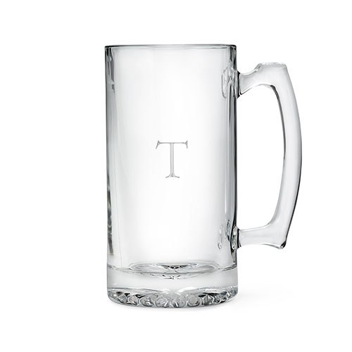 Personalized Large Glass Beer Mug – Monogram Engraving